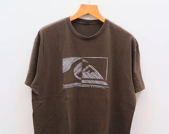 Vintage QUIKSILVER Big Logo Surfing Surf Hawaii Aloha Brown Tee T Shirt