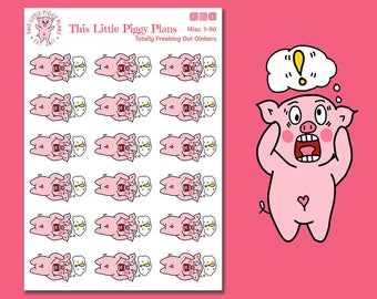 Totally Freaking Out! - Planner Stickers - Emotion Stickers - Oinkers Freaks Out - OMG - Pig Planner Stickers - Pigs - [Misc. 1-90]
