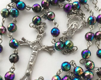 Vintage collection of two religious rosary Beads  bracelet necklace Crucifix cross
