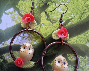 "Earrings ""perched OWL"" cold porcelain."