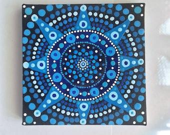 Blue Mandala , Mandala Painting, Acrylic,  Wall art,  Canvas, ready to hang, boho, eastern art, boho gift, boho home, original painting