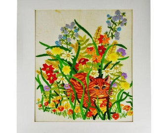 Vintage Handmade Cat Surrounded by Flowers Embroidery