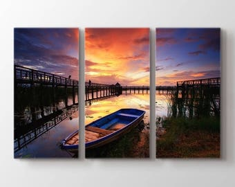 Large Wall Art Lake and Sunset Landscape Canvas Print