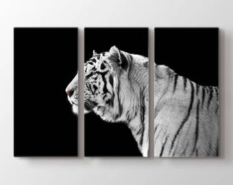 Large Wall Art Black and White Bengal Tiger Canvas Print