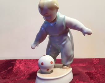 Zsolnay Hungary porcelain boy with ball figurines-porcelain child with ball-porcelain Zsolnay