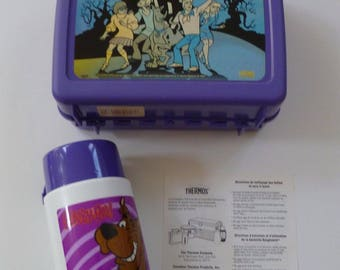 SCOOBY DOO Lunch Box Thermos Instructions Vintage / New Nevery Used Collectible Purple Lunchbox