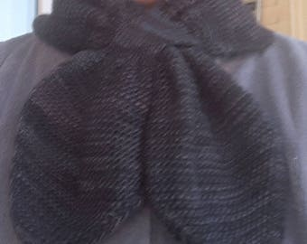 Scarf silk Merino black-grey