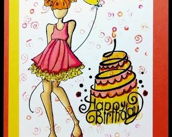 Granddaughter Birthday Card, Handmade Greeting Card, Teen Girl Birthday Card, Card For Her, Granddaughter Card, Girl With Cake