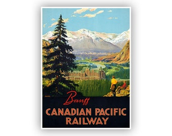 Canada Travel Poster, Banff Tourism Artwork, Vintage Restored Fine Art Print, Retro Decor, Multiple Size Options