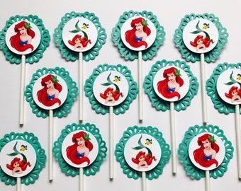 12 LITTLE MERMAID Ariel Cupcake Topper - Party Pick - DISNEY