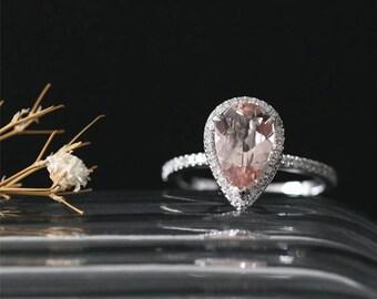 Natural 10*7mm Pear Shape Morganite Ring Bridal Ring Diamonds Halo Ring Stackable Gesmtone Ring 14K White Gold Morganite Engagement Ring