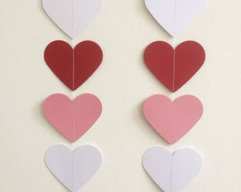 Red, Pink and White Heart Garland, Valentines, Decorations, Parties, Celebrations