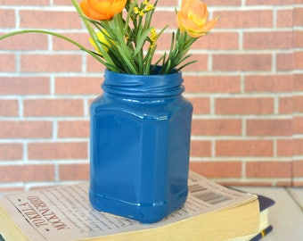 Tiny Blue Hand Painted Flower Vase made from Recycled Glass Jar