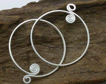 Handmade Swirl Silver Charms,Cute Swirl Plain Charms,approx: 45x51.4 mm.,1 pcs.