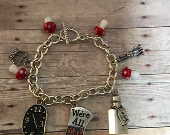 Alice in Wonderland Charm Bracelet/ Through the Looking Glass/ Fairytale Charm Bracelet/  Wonderland Cosplay Bracelet/ Cosplay