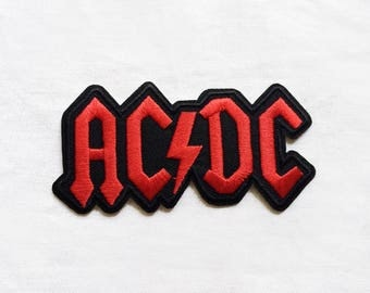 1x ACDC band red patch logo music custom rock usa Iron On Embroidered Applique AC DC