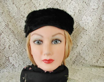 Vintage Black Mink Pillbox Hat with Satin Trim