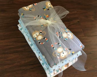Cloth Diaper, Prefold Diaper w/ Zorb II, Monkey, Love Grandma, Reusable Diaper, Burp Cloth, Trifold Zorb Soaker Booster, Baby Branch Boutiqu