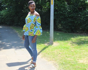 Bell Sleeved Colourful African-Print Bardot