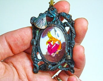 Mermaid embedded in resin, necklace pendant,miniature polymer clay.