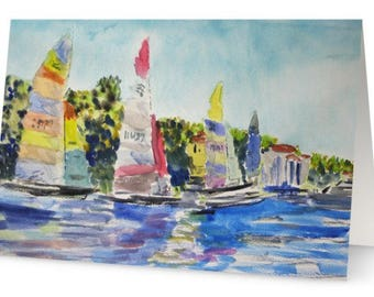 90 Mile Journey / Key West to Cuba Race / 5x7 Greeting Card / Based on Original Watercolor by Stephen Parulski