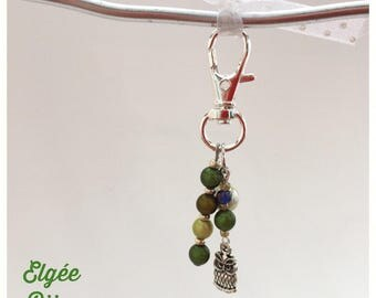 Bag-different shades of green OWL charm