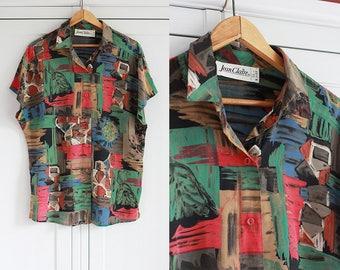 Vintage Shirt Blouse Elegant Short sleeves Colorful pattern Red Green Retro oldschool top Collar Women clothing Loose fit / Medium size