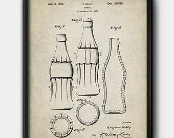 Coca-Cola bottle · 1937 · Patent · Vintage · Instant Download · Printable #158