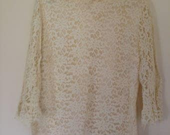 Vintage Cream Lace Blouse Button Up Back Size 10 FREE SHIPPING