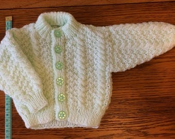 Baby child's hand knitted cardigan boy girl