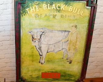 Large 'The Black Bull' pub metal sign vintage industrial mancave retro cafe restaurant kitchen cow