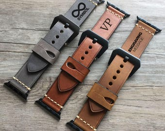 Apple Watch band, Apple Watch Strap 38 / 42 mm Genuine Leather Vintage Classic Elegant Strap for Women and Men Engraving