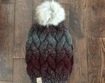 THE CAYLEY // Braided Cable Beanie // Burgundy and  Grey // Hand Knit Chunky Hat // Faux Fur Pom Pom // Chunky Knit Hat // Cable Beanie