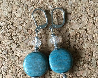 Blue Calsilica Leverback Earrings with Crystal