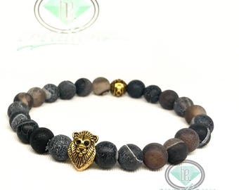 Antique Gold Lion & Frosted Blue Agate