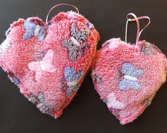 Pretty heart decorations made from fleece, Broderie anglais or polycotton. 50p each