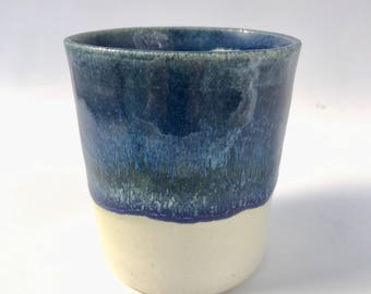 Blue Wheel thrown Ceramic Cup | FREE SHIPPING