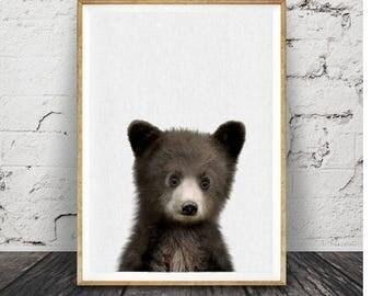 Baby Bear Print, Woodland Animal, Nursery Decor, Printable Digital Download, Forest Animals, Black and White