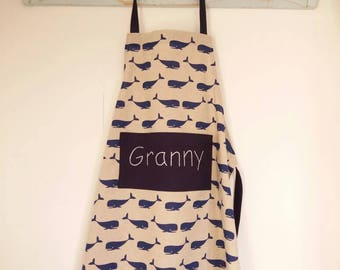 Whale print linen look Aprons, toddler to adult size. Can be personalised.