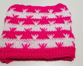 Adult Knitted Striped Hat in Hot Pink and White