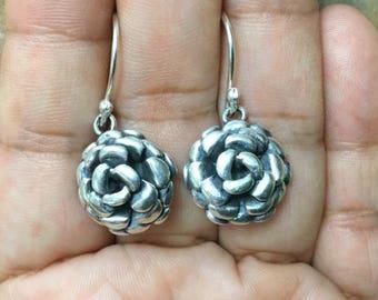 Sterling Silver  Flowers Earrings, Flowers Earrings, Women Earrings, Dangle Earrings