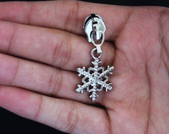 Snowflake Zipper Pulls, Purse Zipper Pulls, #4.5 Nylon Zipper Pulls