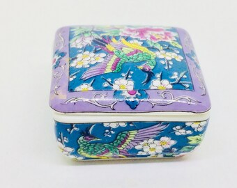 Thrinket Box vintage ceramic blue and mauve and bird