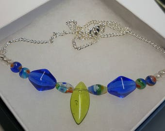 Bead Necklace, Blue and Green Necklace, Colorful Jewel Necklace, Silver Necklace