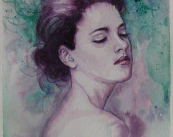 A WOMAN watercolor