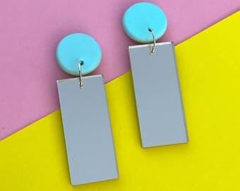 Speckled Dangles, Statement earrings, abstract earrings, polymer earrings.