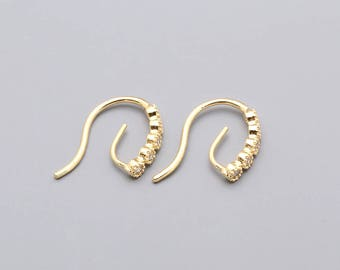 0496-Beautiful CZ Detailed Ear Hooks, Bridal CZ Earrings, Ear Wires, Yellow Gold Plated over Brass, Cubic Zirconia Jewelry Findings-2 pieces