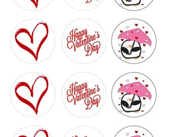 "2"" Valentine's Day Theme Edible Images Oreo Topper Custom"