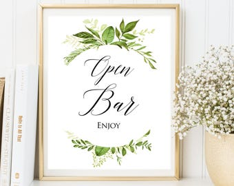 Open bar sign, Wedding Sign, Open Bar Wedding Sign, Printable Open Bar Sign, Greenery Wedding sign, Wedding Decor, wedding Table Sign