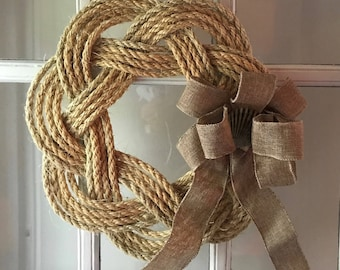 Flat Rope Knot Wreath with Burlap Shell Bow